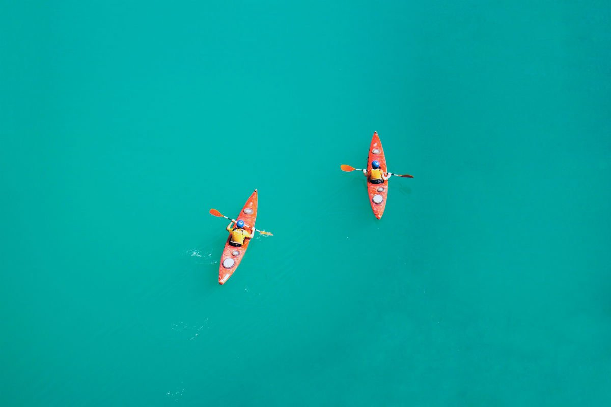 two person kayaking water