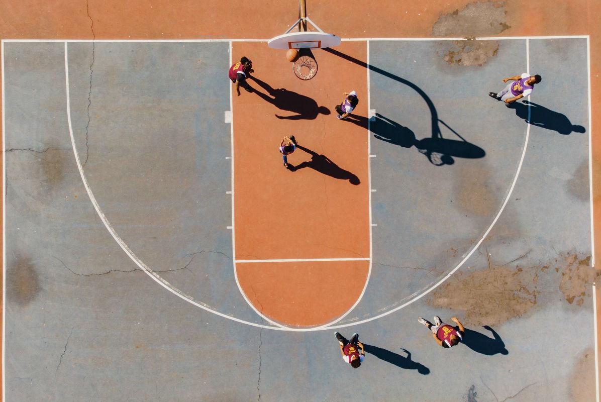 upper view basketball court